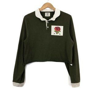 Olive Rose Crop Rugby Shirt / S